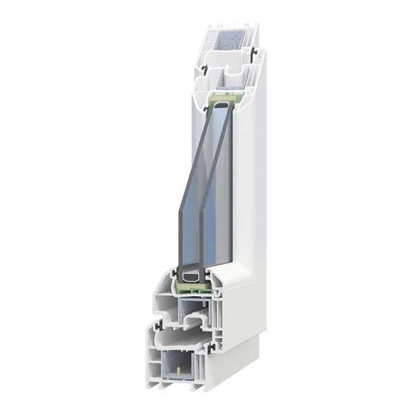 Modelo de un perfil de una de nuestras ventanas de PVC modelo basic con sistema carina de 4 cámaras y doble acristalamiento fabricado en Bersa