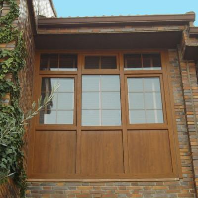 Ventanal en pvc marrón imitación a madera
